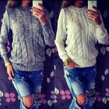 Женщины с длинным рукавом рыхлый свитер вязаный ... - Vova