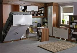 smart home office in bedroom design with bed that functions as shelf too bed for office