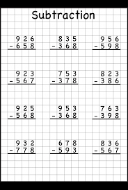 3 Digit Borrow Subtraction – Regrouping – 5 Worksheets / FREE ...subtraction regrouping. Worksheet ...