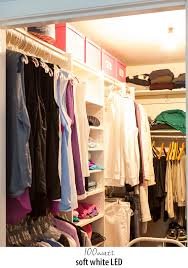 lighting for closets. experiment with different types and wattages of lightbulbs to get the best lighting for your clothes closets e