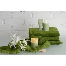 <b>Полотенце</b> банное с <b>бахромой</b> оливково-зеленого цвета ...