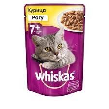 <b>Whiskas</b> паучи в форме рагу с мясом курицы для <b>пожилых</b> кошек ...