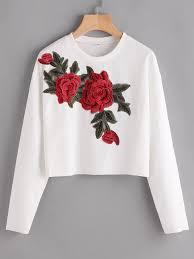 Shop <b>Rose</b> Appliques Ribbed Dropped Shoulders Sweatshirt online ...