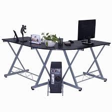 l shape computer desk pc wood laptop table workstation corner home office black hw50293bk black home office laptop