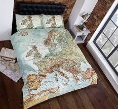 Vintage <b>Maps</b> Panel Duvet Cover Quilt <b>Bedding Set</b>, Double (World ...