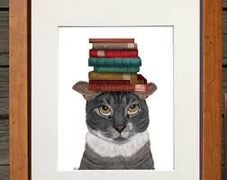 dorm decor grey cat books on head funny cat print funny illustration cat print literary art library decor reading nook book nook decor amusing decor reading corner furniture full size