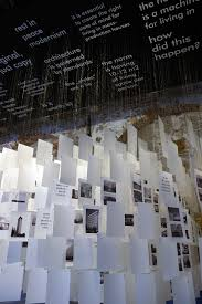 no modern architecture in uncube the installation is basically made from the 489 pages of the catalogue mixing images of