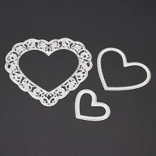 <b>3pcs</b>/<b>set</b> Cutting Dies <b>Love Heart Metal</b> Cutting Dies Stencils Set For ...