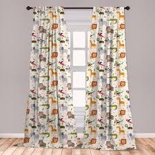 Ambesonne Baby Window Curtains, Exotic <b>Giraffe</b> Lion <b>Zebra</b> Funny ...
