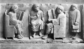 A Roman school  Two boys are reading scrolls  The boy on the right is BBC