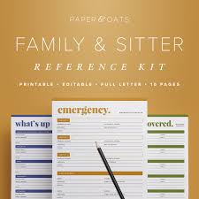 reference family babysitter reference kit editable emergency contact medical info babysitting home management binder household pdf printables