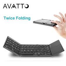 A18 <b>Portable</b> Twice <b>Folding Bluetooth Keyboard</b> BT <b>Wireless</b> ...