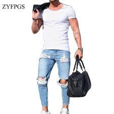 <b>2019 ZYFPGS</b> Men Hole Demin Jeans Elasticity Hip Hop Men'S ...
