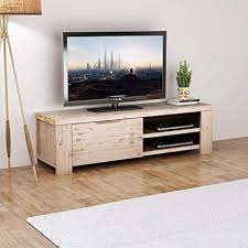 <b>TV Cabinet Solid Brushed</b> Acacia Wood 140x38x40 cm: Amazon.co ...