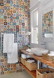 Multi Coloured Kitchen Tiles Multi Colored Wall Bathroom Tiles With Wooden Rack For The Home