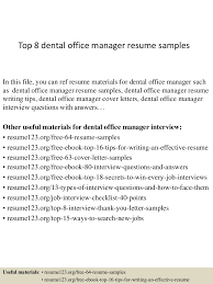 top8dentalofficemanagerresumesamples 150331211222 conversion gate01 thumbnail 4 jpg cb 1427854382