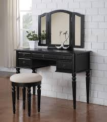 room sets triple designs black makeup vanity table with triple mirror and round bench