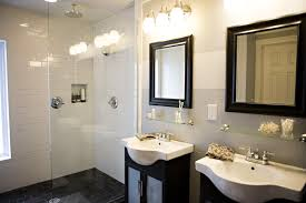 modern triple funnel glass lamps over double square black wooden frame wall mirror combined with double bathroom bathroom vanity lighting ideas combined