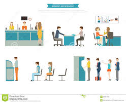 bank interior cashier consulting currency exchange banking banking concept set stock photo