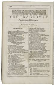 antony and cleopatra shakespeare library opening of antony and cleopatra in the second folio