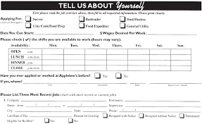 applebee s job application printable job employment forms the applicant should be at least 18 years of age and eligible to work in united states applebee s as a work place provides a friendly and fast paced work