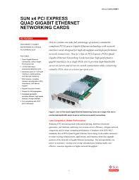 sun x4 pci express quad gigabit ethernet networking cards oracle sun x4 pci express quad gigabit ethernet networking cards 1 5 pages