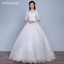 <b>VENSANAC</b> Crystal <b>O</b> Neck Bow Sash Ball Gown Wedding Dresses ...