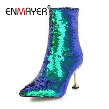<b>ENMAYER Women Ankle boots</b> Pointed Toe High heels Short boots ...