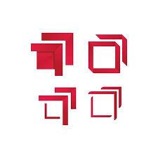Vector - <b>modern red</b> border square logo <b>frame</b> on a white background