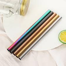 6/12mm*215mm Stainless Steel <b>Drinking Straw</b> Reusable Straight ...
