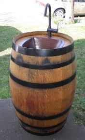 wine barrel outdoor furniture view in gallery wine barrel sink wonderfuldiy1 wonderful diy outdoor sink from arched napa valley wine barrel table