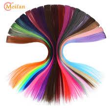 MEIFAN <b>Long Straight</b> Streak <b>Colorful Fake</b> Hairpieces Clip In Hair ...