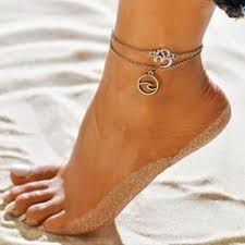 AY Bohemian Crystal Beads <b>Anklet</b> Set For <b>Women</b> Moon Pendant ...