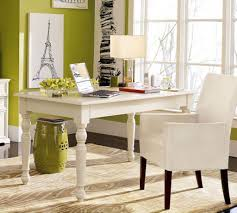 comfy white chair and small white desk on brown carpet inside open home office chic small white home