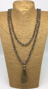 <b>Fashion Bohemian Tribal</b> Long knotted Crystal Necklace w Tassel ...