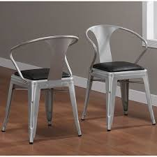 kitchen chair sets of 4 industrial padded seat metal silver stackable dining kitchen chair set