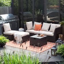 resin wicker piece lounge set gray