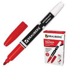 Купить Маркер для доски <b>BRAUBERG</b>, КРАСНЫЙ, с клипом ...