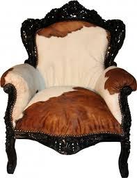 Casa Padrino Baroque armchair King Cow / Black - <b>Genuine Cowhide</b>