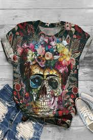 <b>Vintage Floral Skull</b> Print Paneled Short Sleeves T-shirt in 2020 ...