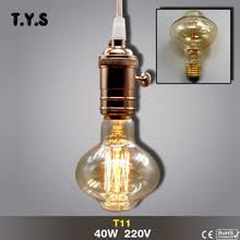 T11 Ampoule винтажная <b>лампа</b> Эдисона E27 нить <b>накаливания</b> ...