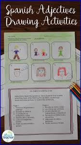 images about spanish adjectives spanish los adjetivos spanish adjectives drawing activity