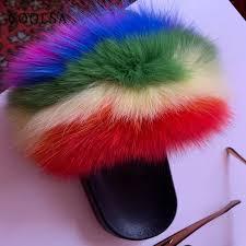 <b>New Summer</b> Fluffy Fur Women Slippers <b>Indoor</b> Flip Flop Real Fox ...