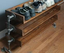 industrial design furniture shoe rack itself building pipes wood build industrial furniture