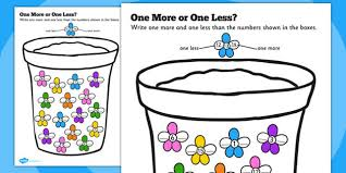 One More One Less Math Worksheets - Kindergarten Math Worksheets ...Math Worksheet : One More or One Less Flowers Counting flowers counting count One More One