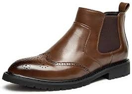 Bin Zhang <b>Chelsea</b> Boot for Men <b>Brogue Ankle</b> Shoes Pull on ...
