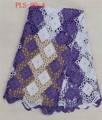 purple&white guipure lace fabric african cord lace for party dress ...