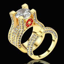 Size 6 <b>2Pcs</b> Set Wedding <b>Engagement</b> White CZ <b>Ring</b> Gold ...