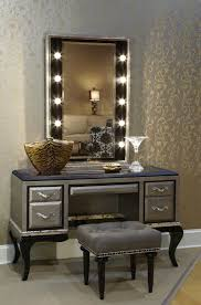 silver polished wooden make up vanity table with drawers and cabriole legs combined with wall mount charming makeup table mirror lights