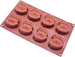 <b>Christmas Santa Claus Silicone</b> Mould, 8 Holes Cake Pan Biscuit ...
